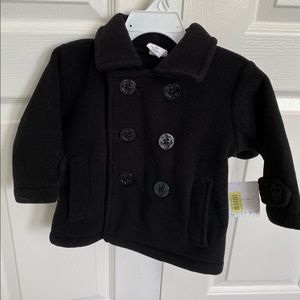 Cute Black pea coat with beanie 12 months baby
